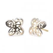 Pendientes-Eles- niña- mariposa-calada-lisa-bicolor- Oro- 18K