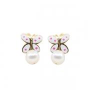 Pendientes- Eles- bebé- mariposa-esmalte-perla- Oro- amarillo-18K