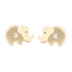 Pendientes- Eles- niña-elefante- circonita- Oro- amarillo- 18K