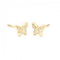 Pendientes- Eles- bebé- mariposa-circonitas- Oro- amarillo-18K