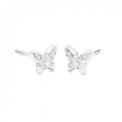 Pendientes- Eles- bebé- mariposa-circonitas- Oro- blanco-18K