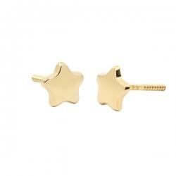Pendientes- Eles- bebé-estrella- lisa- Oro-amarillo- 18K