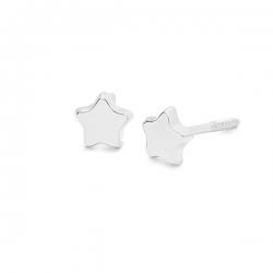 Pendientes- Eles- bebé-estrella- lisa- Oro- blanco- 18K