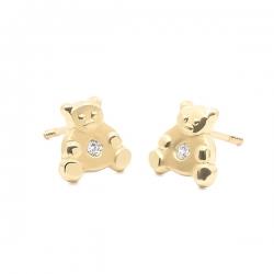 Pendientes- Eles- bebé- oso-circonita- Oro- amarillo-18K
