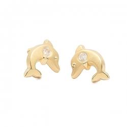 Pendientes-Eles- bebé- delfín-circonita- Oro- amarillo-18K