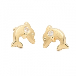 Pendientes-Eles-niña-delfin-matizado-circonita-Oro-amarillo-18K