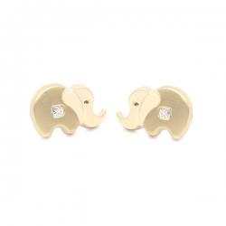 Pendientes- Eles- bebé-elefante- circonita- Oro- amarillo- 18K