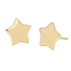 Pendientes- Eles- mujer-estrella-lisa-5 puntas- Oro- amarillo- 18K