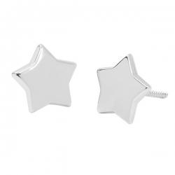 Pendientes- Eles- mujer-estrella-lisa-5 puntas- Oro- blanco- 18K