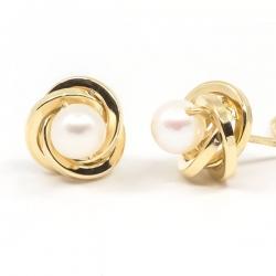 Pendientes Oro amarillo 18K  8 mm nudo con perla