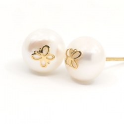 Pendientes Eles mujer perla 8.5 mm con mariposa Oro amarillo 18K
