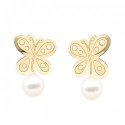 Pendientes- Eles- niña-mariposa-perla- Oro- amarillo- 18K