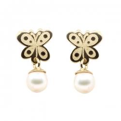 Pendientes-Eles- niña- mariposa-perla- Oro- amarillo-18K