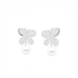 Pendientes- Eles- bebé- mariposa-lisa-perla- Oro-blanco-18K