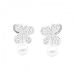 Pendientes-Eles- niña- mariposa-perla- Oro- blanco-18K