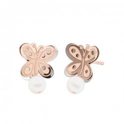 Pendientes-Eles- niña- mariposa-lisa-bicolor- perla-Oro- 18K