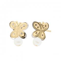 Pendientes-Eles- niña- mariposa-perla- Oro- bicolor-18K
