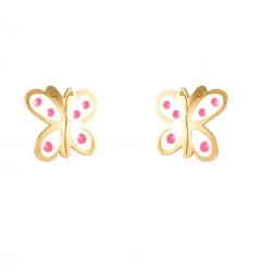 Pendientes-Eles- niña- mariposa-esmalte- Oro- amarillo-18K