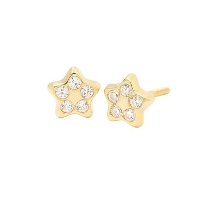 Pendientes- Eles- bebe-estrella- circonitas- Oro- amarillo- 18K