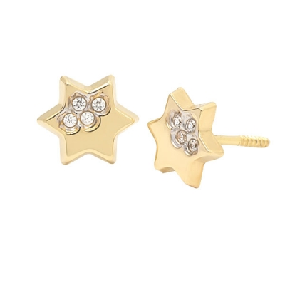 Pendientes Eles- niña-estrella- circonitas- Oro- amarillo- 18K