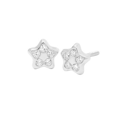 Pendientes- Eles- bebe-estrella- circonitas- Oro- Blanco- 18K