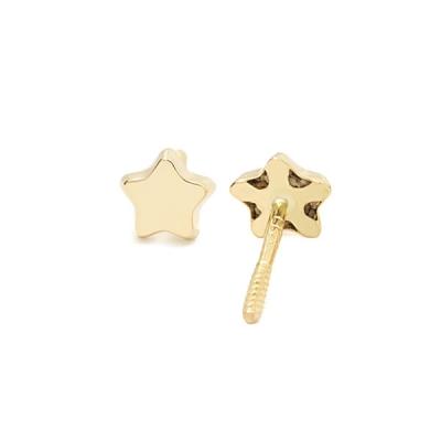 Pendientes- Eles- bebé-estrella- lisa- Oro- amarillo- 18K
