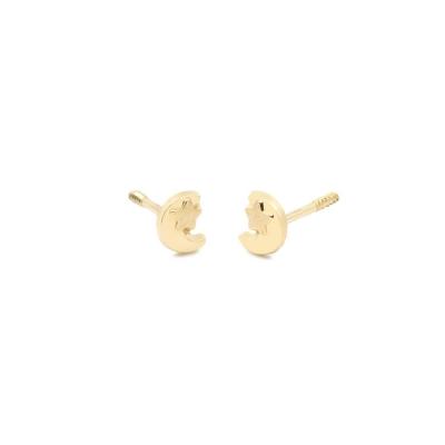 Pendientes- Eles- bebé-luna-estrella- lisa- Oro- amarillo- 18K