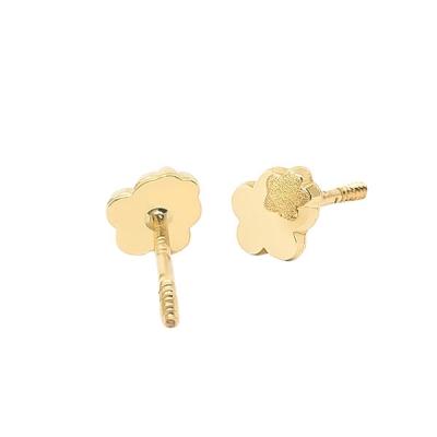 Pendientes- Eles- bebé-doble margarita- lisa- Oro- amarillo- 18K
