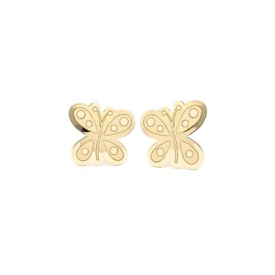 Pendientes- Eles- bebe- mariposa- Oro- amarillo-18K