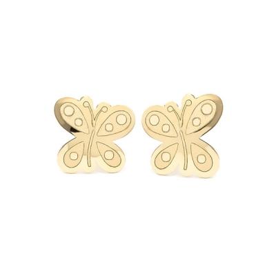 Pendientes-Eles- niña- mariposa- Oro- amarillo-18K