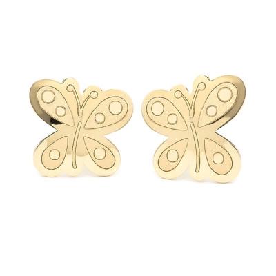 Pendientes- Eles- niña- mariposa- Oro- amarillo- 18K