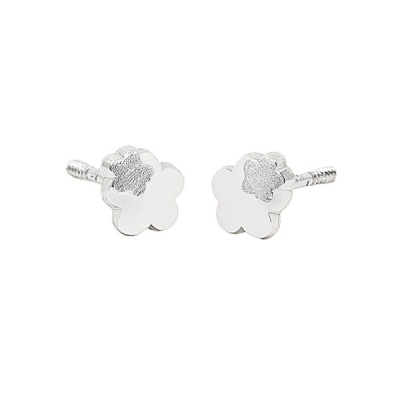 Pendientes- Eles- bebé-doble margarita- lisa- Oro- blanco- 18K