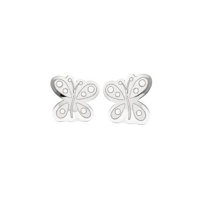 Pendientes- Eles- bebe- mariposa- Oro- blanco-18K