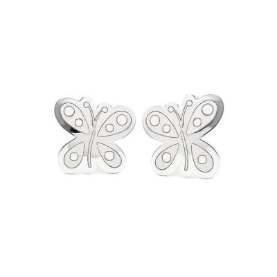 Pendientes- Eles- niña- mariposa- Oro- blanco-18K