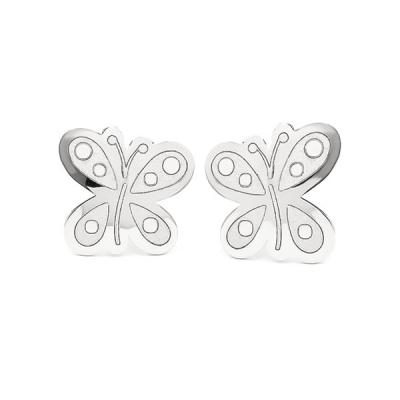Pendientes Eles- niña- mariposa- Oro- blanco-18K