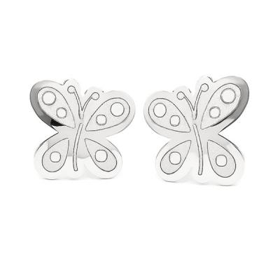 Pendientes- Eles- niña- mariposa- Oro- blanco- 18K