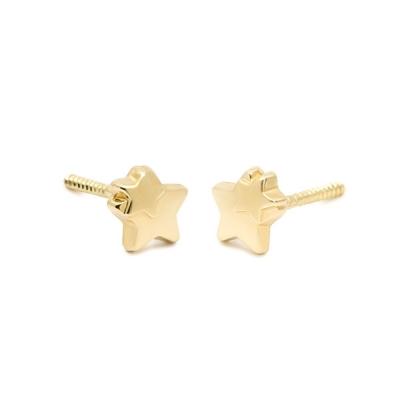 Pendientes- Eles- bebé-doble estrella- lisa- Oro- amarillo- 18K