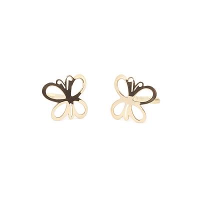 Pendientes-Eles- niña- mariposa-lisa- Oro- 18K