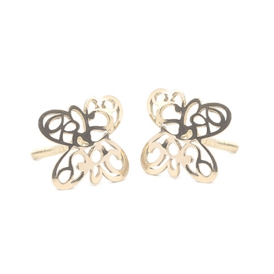 Pendientes-Eles- niña- mariposa-lisa-calada- Oro- 18K