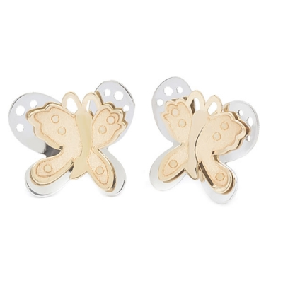 Pendientes- Eles- niña- mariposa-lisa-bicolor- Oro-18K