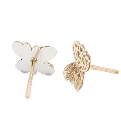 Pendientes-Eles- niña- mariposa-lisa-bicolor- Oro- 18K
