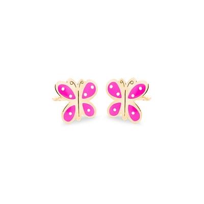 Pendientes-Eles- bebé- mariposa-esmalte- Oro- amarillo-18K