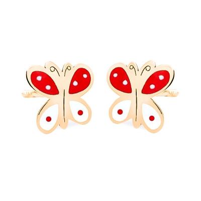 Pendientes- Eles- niña-mariposas-esmalte- Oro- amarillo- 18K