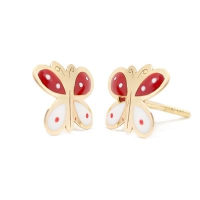 Pendientes Eles- niña-mariposas-esmalte- Oro- amarillo- 18K