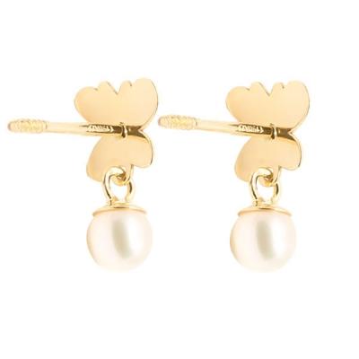 Pendientes- Eles- niña- mariposa-esmalte-perla- Oro- amarillo-18K
