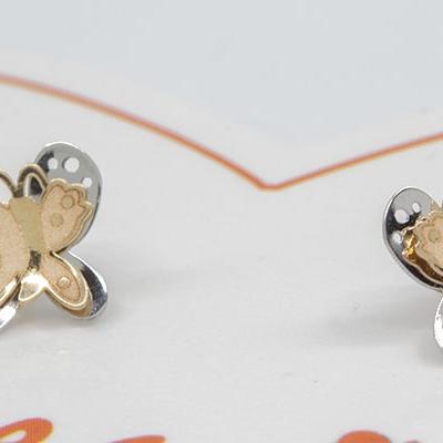 Pendientes Eles niña mariposa lisa doble bicolor matizada 8x6.8 mm Oro Amarillo y Oro Blanco 18K